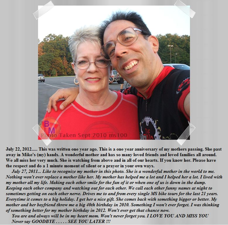 Snapshot from the main page of Bike Mike World. When Mike's mother past away in 2011.